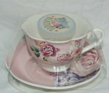 Blooming Beautiful Teacup And Saucer Set With Flower Design On Pink