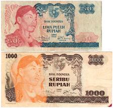 Indonesia 50/1000 Rupiah P#107a & P#110a (1968) 2 Banknote Set VF