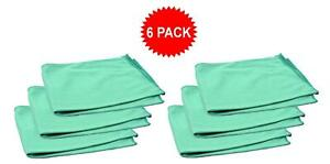 6pk Real Clean 16x16 Microfiber Green Window Glass Towels For Home Auto No Lint