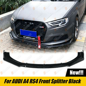 Gloss Black Front Lip Splitter For Audi A4 RS4 quattro Premium Sportback Sedan