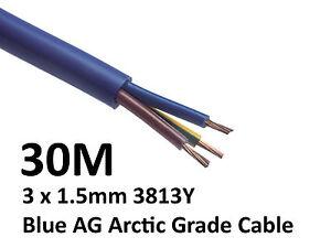 30M Arctic Blue 3183Y Flex Cable 3core x 1.5mm Outdoor Caravan Camping Artic