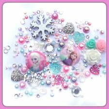 Disney Pink & Aqua Frozen Theme CABOCHON Flatbacks for Decoden Crafts #2