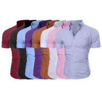 Men's Slim Fit Shirt Short Sleeve Stylish Formal OL Casual T-shirt Tops Blouse