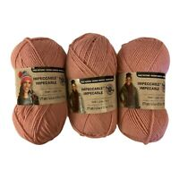 Lot of 3 Skein Loops and Threads Impeccable Yarn Medium 4 Soft Rose 4.5oz