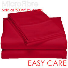 Double Sheet Set(Fitted,Flat,Pillowcase) Super Soft MicroFibre-Spice/Red