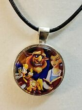 "Disney's ""BEAUTY, THE BEAST & FRIENDS "" Glass Pendant with Leather Necklace"