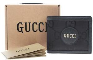 NEW GUCCI OFF THE GRID BLACK GG FABRIC LEATHER LOGO BIFOLD 12 SLOTS WALLET W/BOX