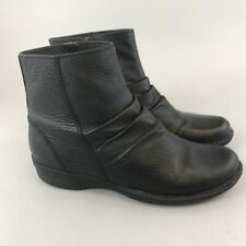 Clarks Collection UK5 D Black Leather Ankle Zip Up Slouchy Wedge Booties Boots