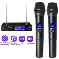 Professional 2 Channel UHF Wireless Microphone Mic System Dual Handheld Karaoke