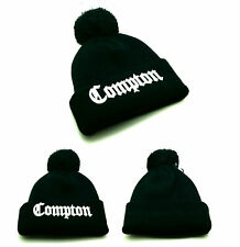 Compton New Beanie Knit Cuffed Old English Black White Toque Pom Era Hat Cap
