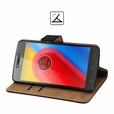 For Motorola Moto C Black Leather Wallet Flip Case with Stand Cover + Film Guard