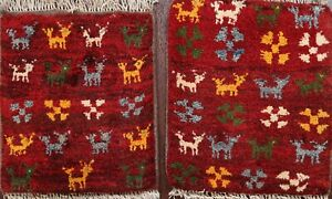 Pair of 2 Tribal Authentic Gabbeh Handmade Area Rug Geometric Oriental Wool 1x1