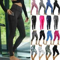 Womens High Waist Sports Yoga Pants  Athletic Fitness Gym Leggings With Pockets