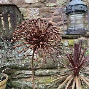 Rusty Metal Allium Flower Garden Stake 267, Rustic Wire Climbing Plant Support