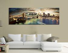 QUADRI MODERNI TELA 150X50 SKYLINE NEW YORK MANHATTAN PONTE DI BROOKLIN USA ARTE