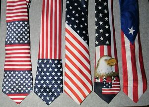 American Flag USA Neck Tie Lot of 5  4th of July / Veterans /  Memorial Day Ties