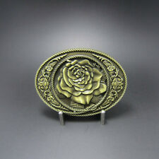 Western Decor Antiqued Bronze Plated Rose Belt Buckle