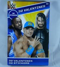 32 Count Valentines Day Cards w/ 32 WWE Wrestling Stickers Kids Classroom Party