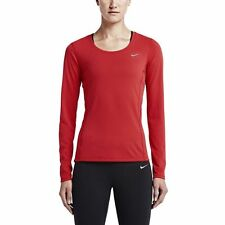 NIKE PRO WOMEN'S DRI-FIT CONTOUR LONG SLEEVE RUNNING SHIRT RED  #644707-NWT