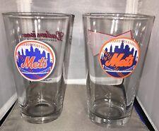 Budweiser Mets Beer Pilsner Glasses Set Of Two Baseball MLB Bar Man Cave