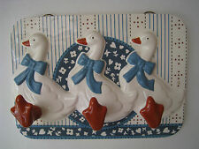 "Mother Goose Ceramic 3 Towel Hanger Vintage Japan 9.5"" Unique"