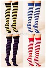 Black & Purple Striped Over Knee Socks Stripe Halloween Costume Stripey Sox