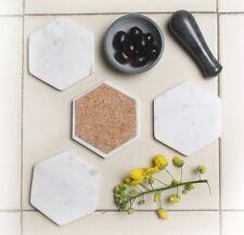 Hexagon White Marble Coasters Trivet White Stone Coaster Drink Beer Coaster Set