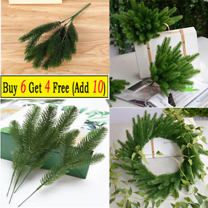 1/10pcs Artificial Fake Pine Tree Branch Green Plants for Xmas Wreath Decoration
