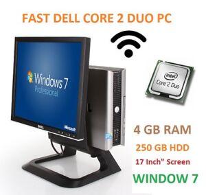 Fast Dell All In One PC Computer 755/760, Core 2 Duo,3.00GHz,4GB,250GB, WiFi,