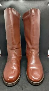 Vintage tan boots UK 9 faux leather fur lined  flat winter issue