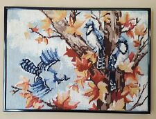 Vintage Framed Completed Needlepoint Blue Jays Birds in Autumn Tree