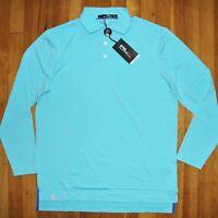 RLX Ralph Lauren Torrey Pines Long Sleeve Golf Polo Shirt Mens L Blue UPF New