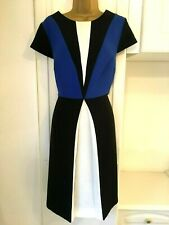 "South size uk 16-18(states 18) nwt black/blue/white colour block dress bust 42"""