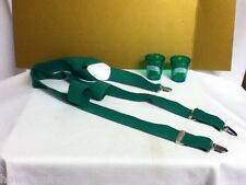 Lucky clover green suspenders and (2) shot glasses St. Patrick's Day unique By2