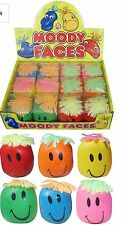 6 X FUNNY STRESS MOODY FACE RELIEF BALL  MIXED COLOUR