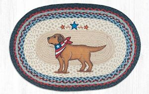 Braided EARTH RUGS--20 x 30 Jute Area Rug Dog YELLOW LAB Patriotic NEW NICE!
