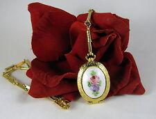 Vintage Goldette Ornate Flower Locket Gold tone  Necklace  CAT RESCUE