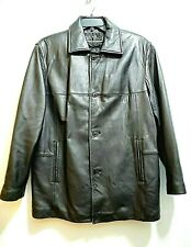Nicole Miller Mens Lg Genuine Black Leather Coat Quilted Lining EUC Button/Zip