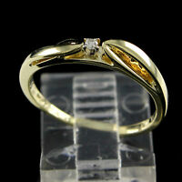 Estate 0.05Ct Round Cut Diamond 14K Solid Yellow Gold Solitaire Engagement Ring