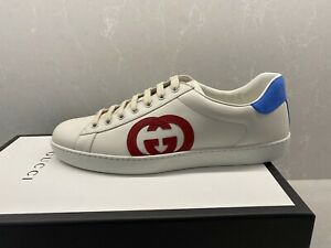 AUTHENTIC GUCCI MEN'S ACE SNEAKERS WITH G SIDE LOGO IVORY US 11 GUCCI 10G