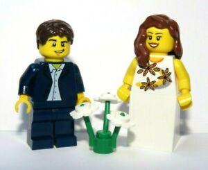 LEGO Bride Minifigure Brown Hair & Groom Blue Suit Wedding Best Man Usher Maid
