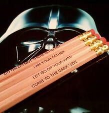Star Wars Inspired HB Pencils Set Of 4 Quotes Printed Gifts Darth Vader Yoda