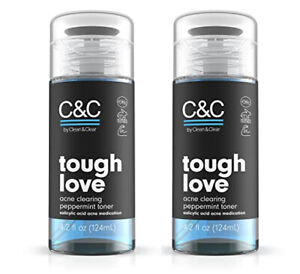 2 Pack - C&C by CLEAN & CLEAR - TOUGH LOVE ACNE CLEARING PEPPERMINT TONER 4.2 OZ