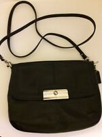Vintage COACH KRISTIN Mini Black Leather Flap Crossbody Shoulder Bag Purse