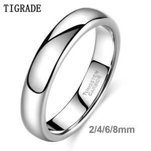 2/4/6/8MM Tungsten Carbide Silver Polished Ring Men Women Bridal Wedding Band