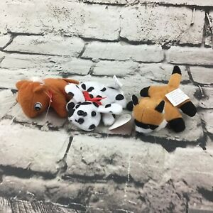"Oreintal Trading Co 4"" Mini Plush Lot Of 3 Pony Dalmation Fox Stuffed Toys"
