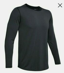 Under Armour Threadborne Knit Mens Running Top Black Fitted Long Sleeve Sz XL