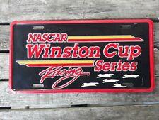 Vtg Winston Cup Series Aluminum License Plate Racing NASCAR Checkered Flag
