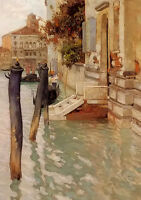 Oil painting Frits Thaulow - on the grand canal, venice cityscape with buildings