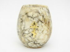 Russian Stone Carving Orthodox Cross Candle Stand Votive Cup Travertine